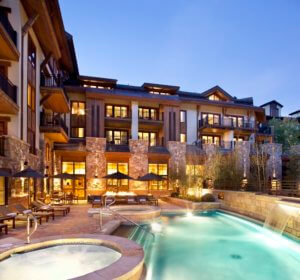 outdoor heated pool and hot tubs at The Sebastian in Vail Village, CO